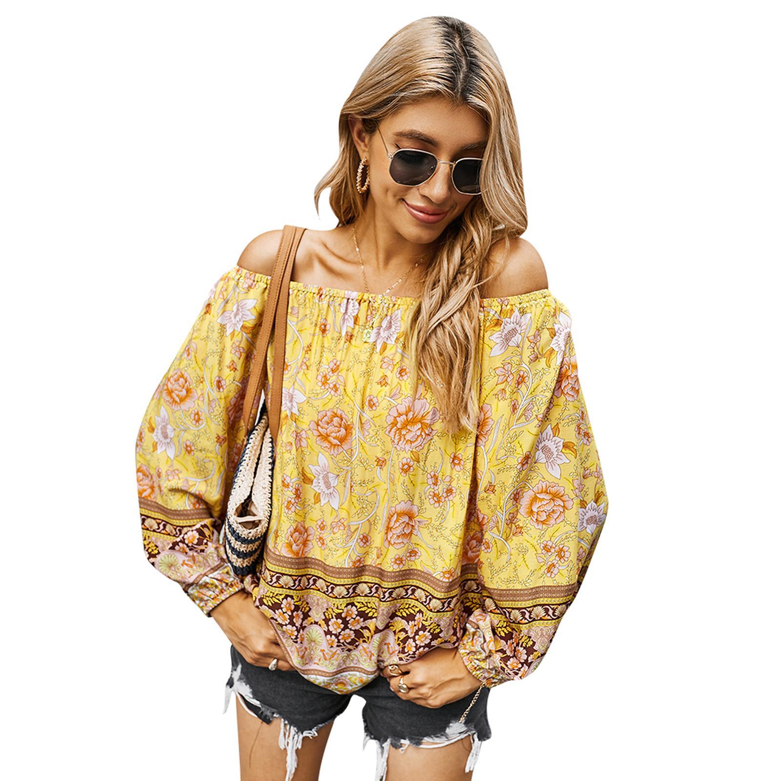 어깨 셔츠에서 여름 새로운 여성 우아한 긴 소매 레트로 꽃 인쇄 탑스 Boho Beach Party Shirts 캐주얼 튜닉 DY2018