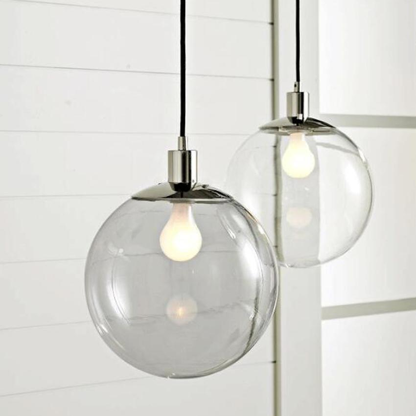 الحديثة وجيزة زجاج الكرة تعليق مصباح الإنارة ضياء 15 20 25 30 سنتيمتر واضح الزجاج الظل hanglamp للمطبخ المنزل الإضاءة الداخلية