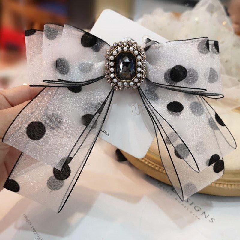 Bowknot Women Rhinestone for Ribbon Bow Tie Brooches Fashion Fabric Pins Shirt Bowtie Pearl Collar Pin Cute Necktie Gift
