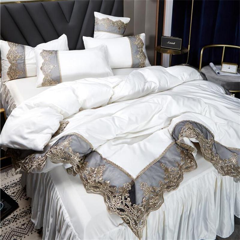 Hot-selling Conjuntos de cama 4 Pcs Bed Sólidos Suit capa de edredão de seda Lace saia de cama designer de roupa de cama Supplies Em armazém
