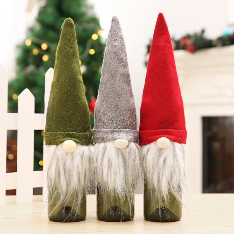 New Christmas Gift Bag Decorations Santa Claus Bag Wine Glass Bottle Set Christmas Champagne Decoration Wine Bag HWC2952