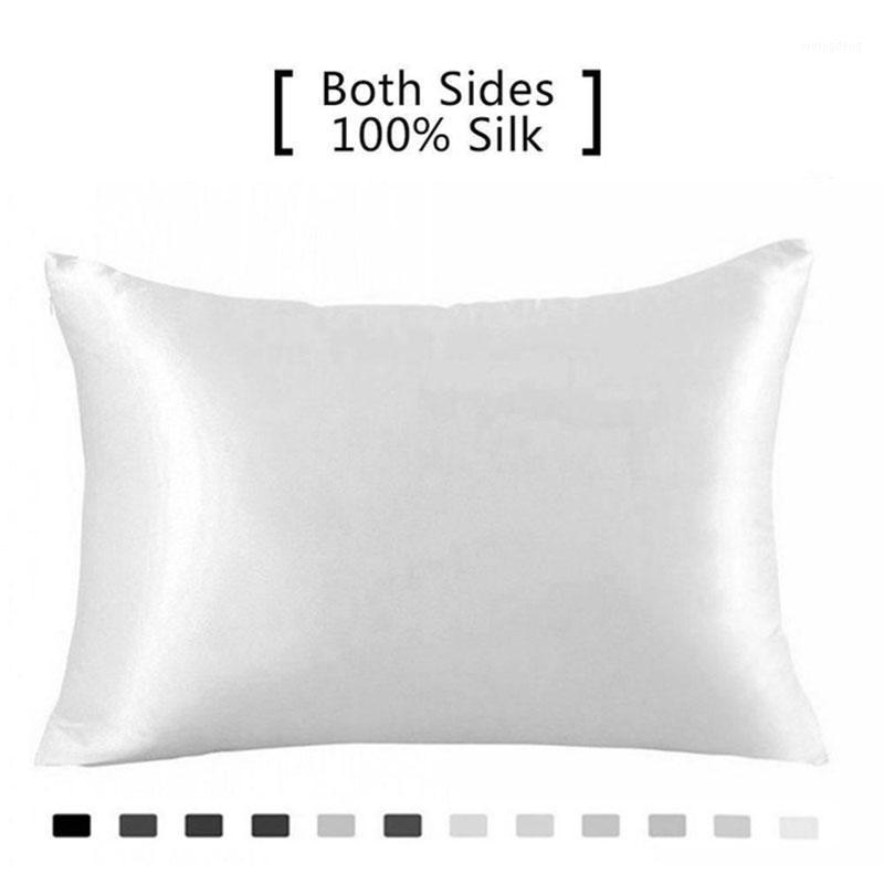 Шелковая наволочка ледяная шелковая наволочка 100% чистый натуральный шелковистый стандартный размер, подушки чехлы HIDD1