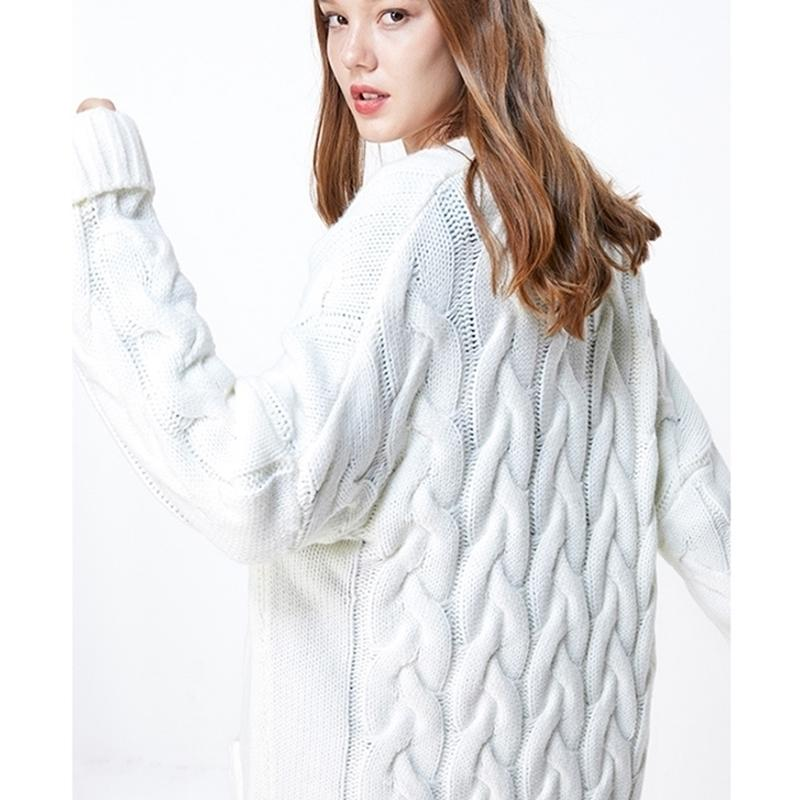 ONLY Autumn Winter Women's Loose Fit Pure Color knit sweater Cardigan | 11933B507 201017