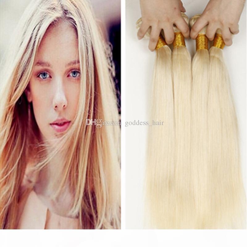 Hélose chaude blonde malaisienne 9A cheveux humains tisse 3 paquets Lot de bonds de cheveux droite Couleur # 613 Extensions de cheveux humains Prix pas cher