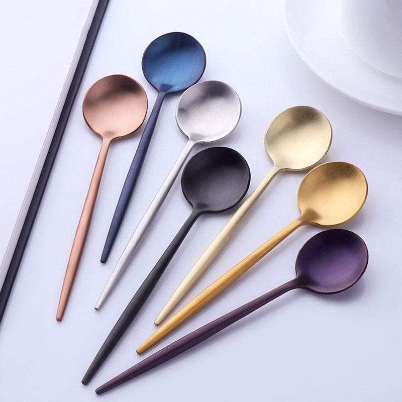 Colorido identificador de aço inoxidável Colher longa agitação colher de chá bonito Sobremesa Jantar Soup Spoons Coffe tableware