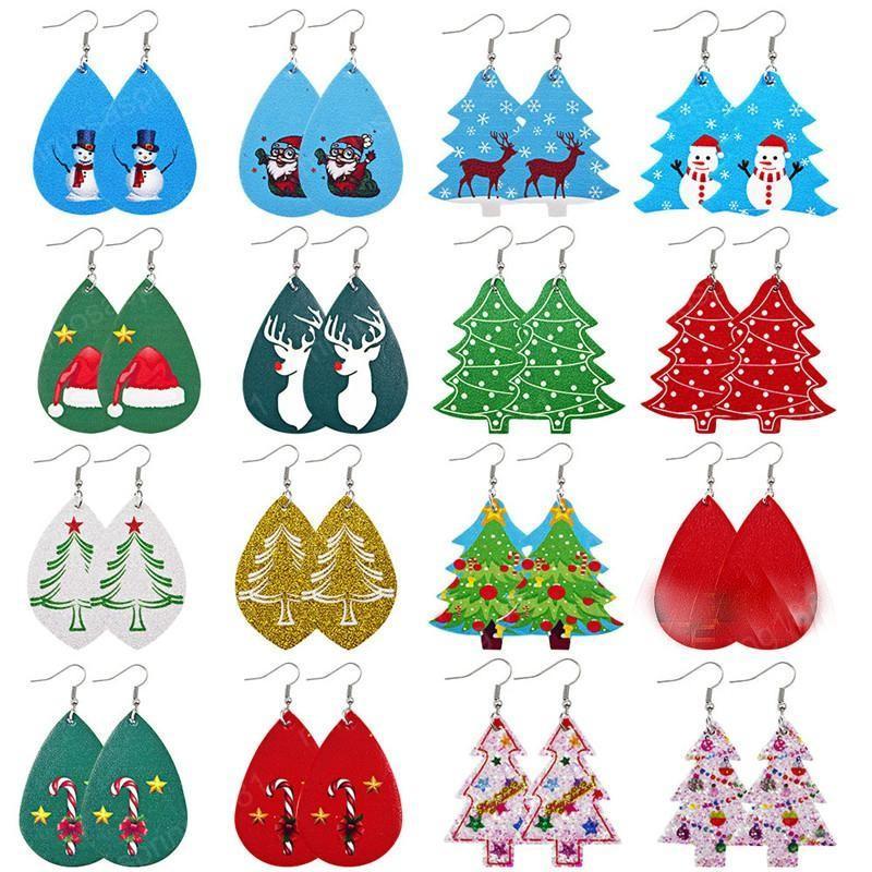 Orecchini di cuoio in pelle Nuovo Natale ciondolano orecchini di goccia dell'unità di elaborazione per i gioielli delle donne gioielli regali regalo di Natale