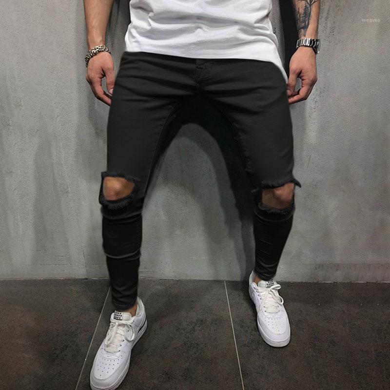 Мода хип-хоп прямой бедствие потертый байкер подходит на молнии карандаш брюки мужские узкие джинсы разорванные отверстия растягивающие джинсовые брюки1