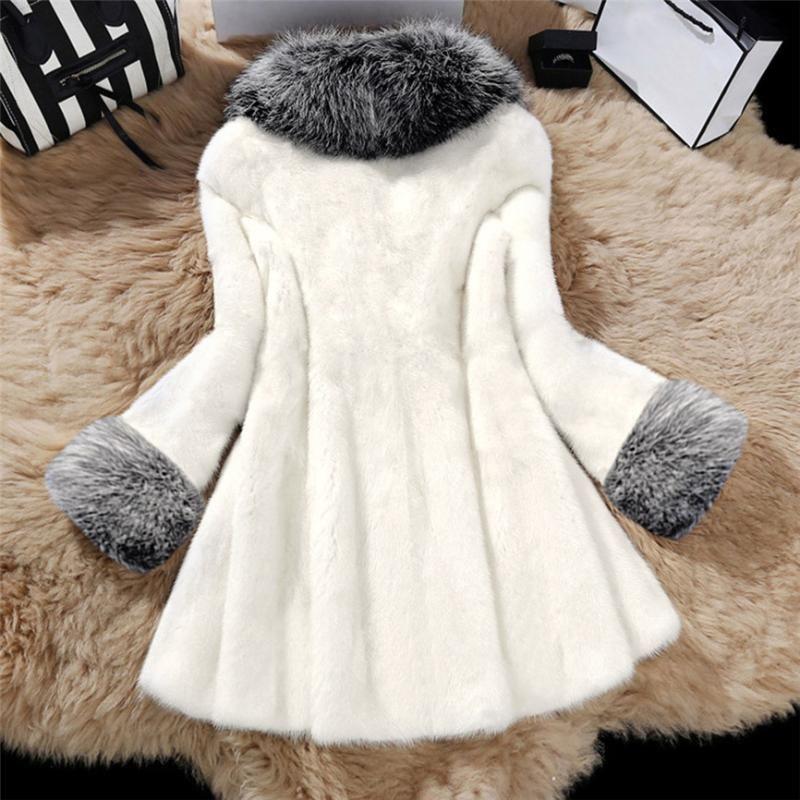 Женщины Зима теплая Сплошная длинный участок Имитация норка с Cap Шуба манто Femme Толстые Outwear Черной Белых