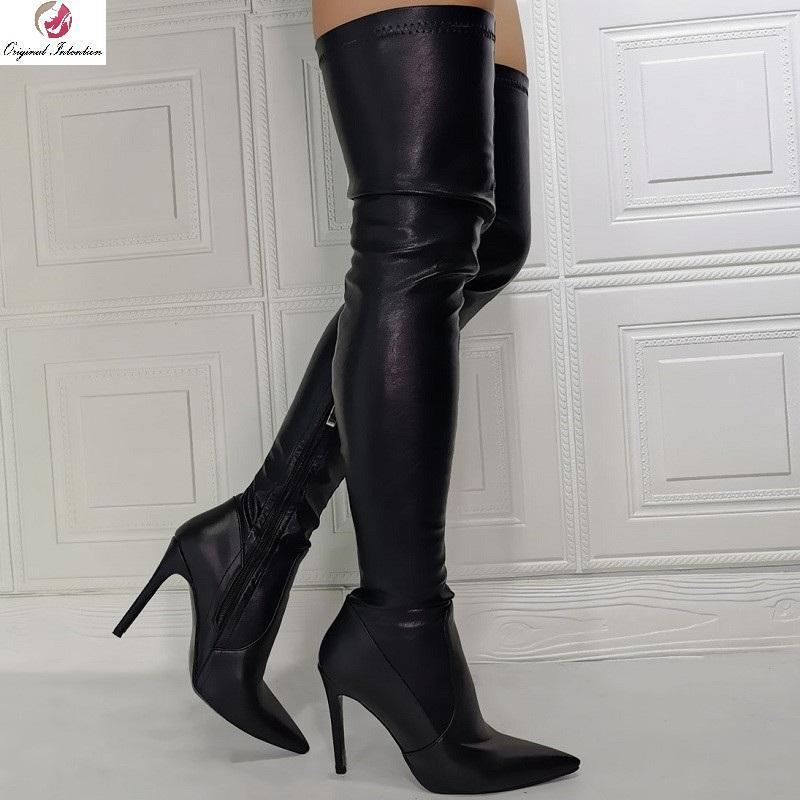 Hiver black brevet bottes femmes cuites hautes talons minces côte zip sur le genou long bottes mode pointu one botitines mujer