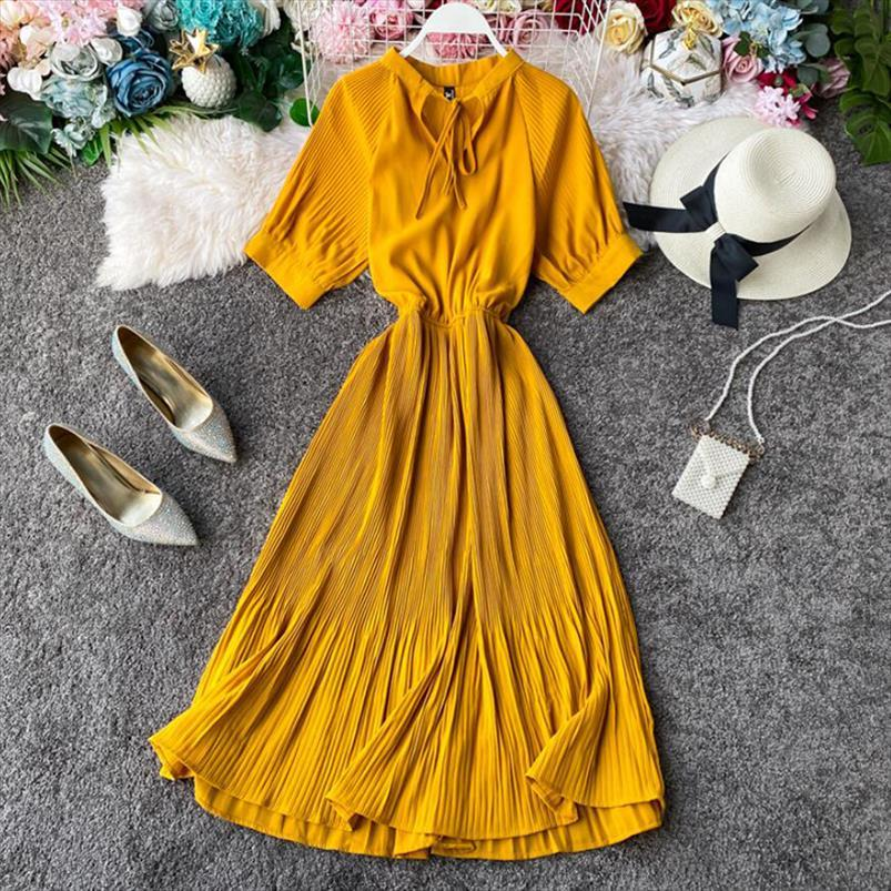 Les femmes de couleur unie douce robe d'été 2020 Nouvelle arrivée jaune Bow manches courtes robe longue Volants une ligne à haute taille Vestido