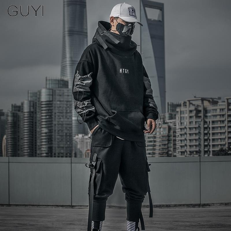 Letter Japan Style Hoodies Sweatshirts Men Harajuku Hip Hop Streetwear Pullover Casual Techwear Fluff Hoddies Male Hooded Top Y1109