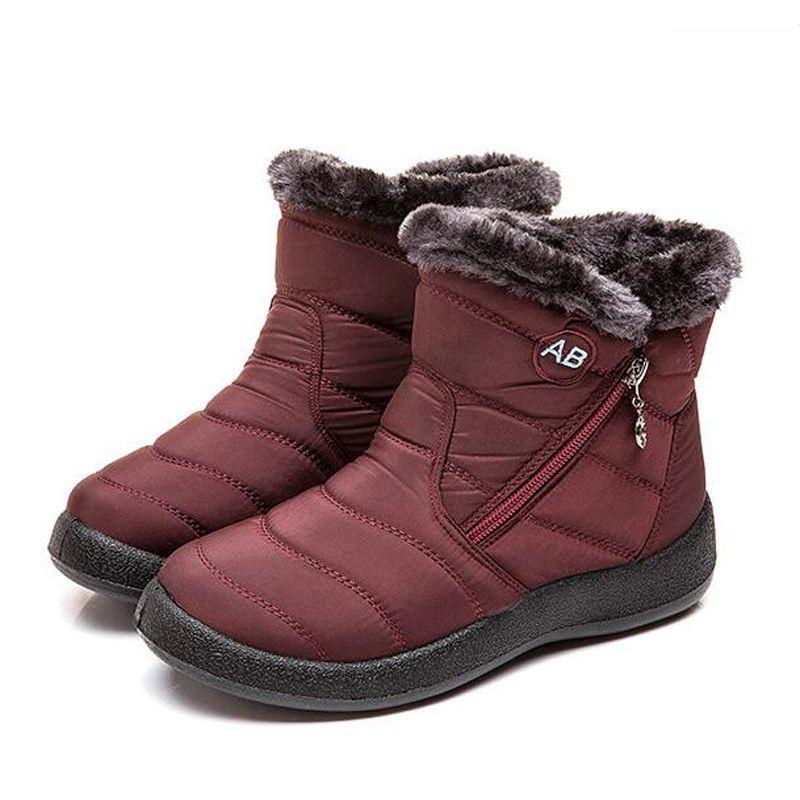 OEIN Snow Women's Boots Non-slip Winter Wedges Boots Fur Warm Ankle Platform Boots Women Down Waterproof Shoes Plus Size 42 43 201020