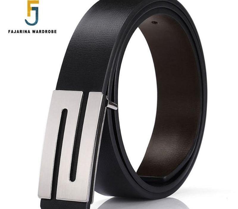 FAJARINA Marque Hommes Qualité Conception PU 2ème couche en cuir véritable noir Ceintures Mode Homme Jeans Ceinture Vêtements Accessoires for22
