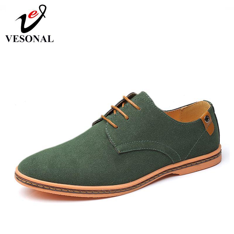 VESONAL Marca 2019 Spring Big Size 38-46 pelle scamosciato Scarpe Uomo Oxford Casual Classico scarpe da tennis per il maschio calzature comode