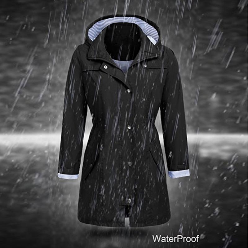 المرأة جاكيتات المرأة كبيرة الحجم معاطف الصلبة المطر سترة في الهواء الطلق ماء مقنع معطف ويدنبروف سستة ملابس خارجية 22021