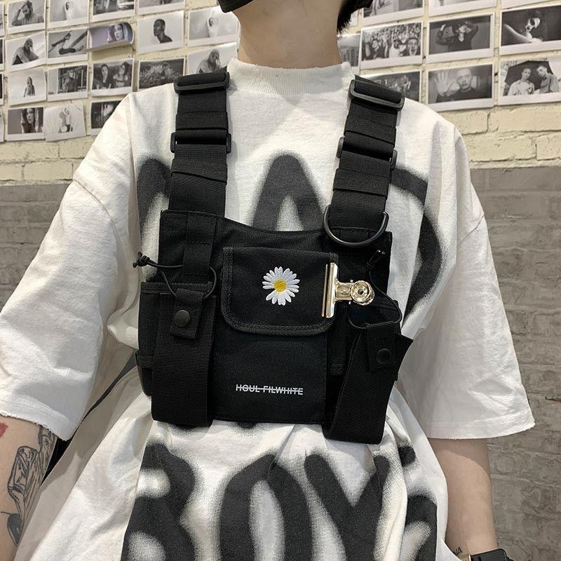 Bolsas tácticas de pecho para hombres 2020 Nylon Bolsa pequeña de cintura pequeña Hip-Hop Street Rig Bracas