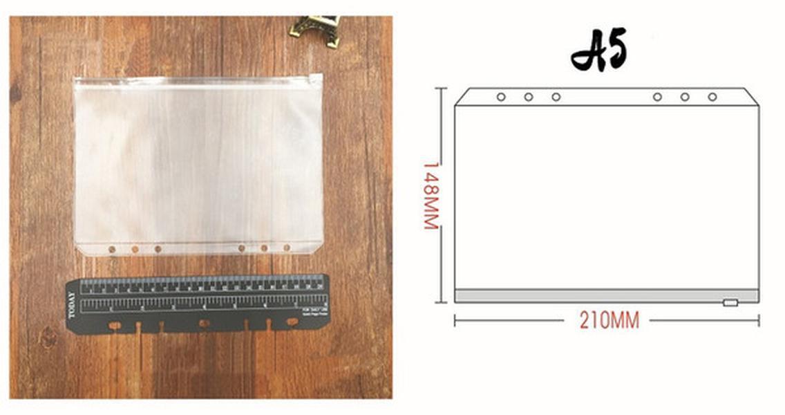 노트북 용 A5 A6 A7 지우기 구멍 뚫은 바인더 포켓 6 개 홀 지퍼 느슨한 잎 가방 PVC 젖 빛 노트북 봉투 스토리지 포켓