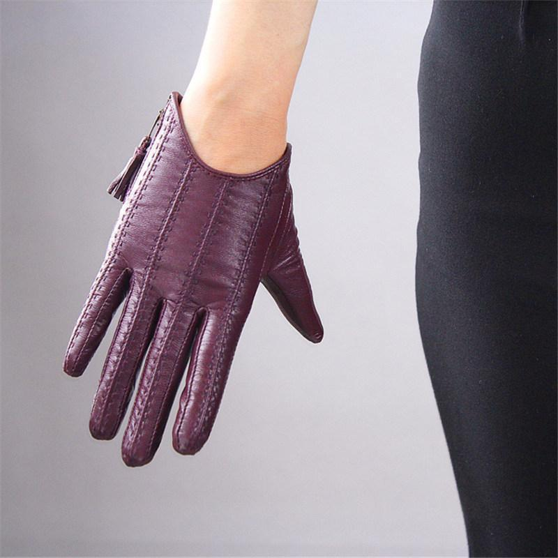 Перчатки с сенсорным экраном Натуральная кожа Pure Impoted Goatskin Tasse Scipser Короткий стиль Темно-фиолетовый Женский Touch Функция