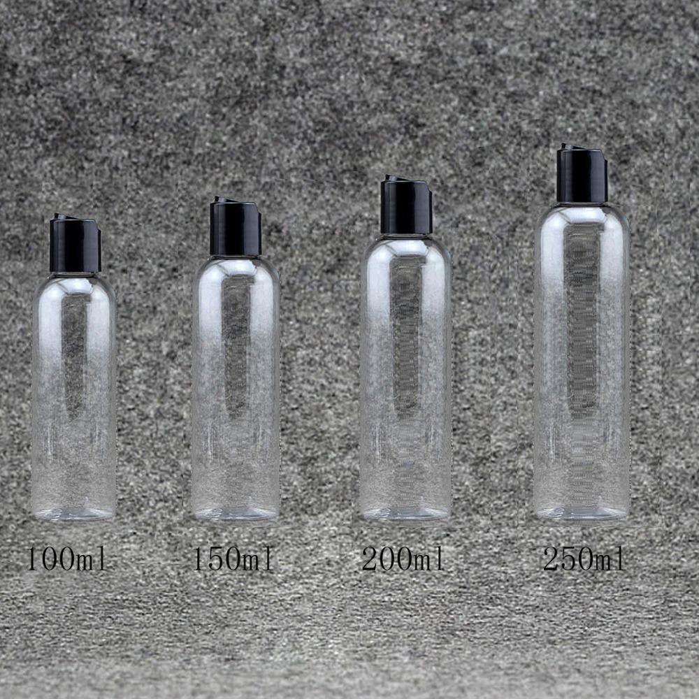 100/150 / 200 / 250ml vacío de plástico transparente botellas de loción rellenables envase cosmético emulsión champú tapa superior disco PET