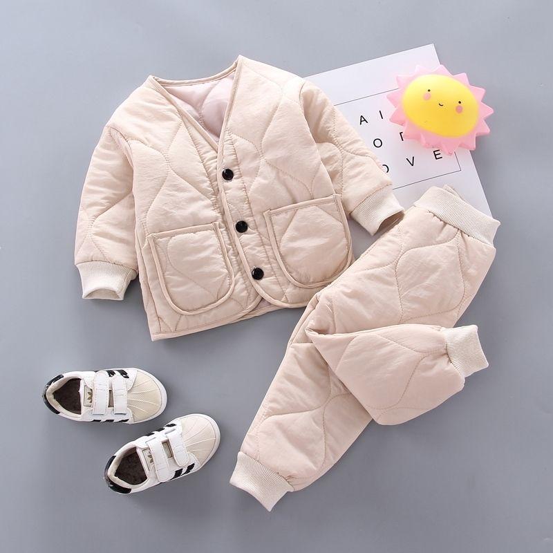 Invierno otoño bebé ropa ropa de manga completa Parkas Pantalones 2 unids / set trajes de algodón niños ropa de ropa para niños bracksuits 201126