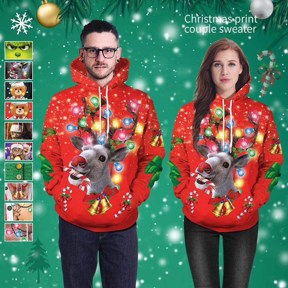 2020 Natal das camisolas novo produto 3D alces impressão digital moletom com capuz camisola ocasional além de casais de tamanho uniforme de beisebol