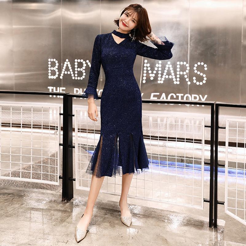 Marinho azul formal vestido de baile cr356 alto colar de manga comprida vestidos de festa sereia vestido de fiesta espumante lantejoull elegante vestido