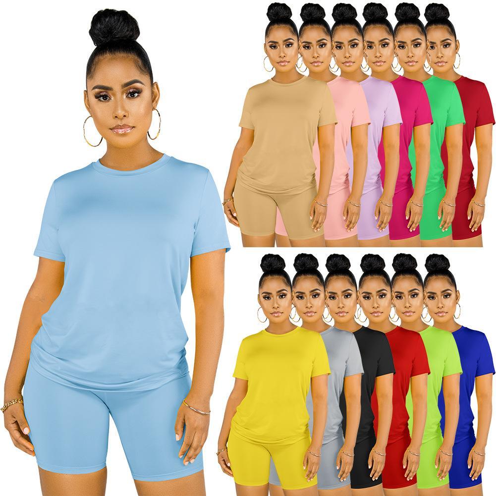 13 색상 뜨거운 판매 2021 여성 패션 캐주얼 2 피스 세트 여름 둥근 목 짧은 짧은 소매 반바지 솔리드 컬러 슬림 트랙