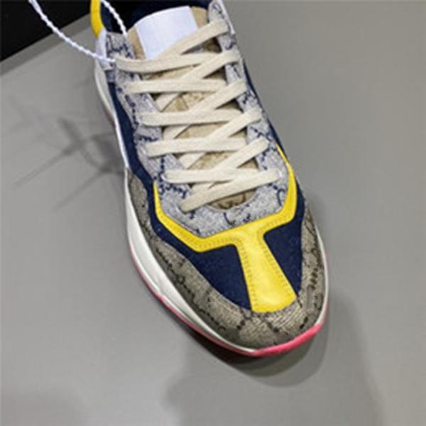 Rhyton повседневная обувь папа кроссовки парижский модный дизайнер мужчин и женщин обуви платформы спортивные клубничные волны рот Tiger Web Print 35-44