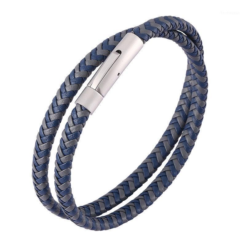 Charme Braceletes Mistura Azul Cinza Cinza Trançado Couro Duplo Camada Mulheres Mulheres 3 Cores Aço Inoxidável Snaps Jóias Unisex Acessórios1