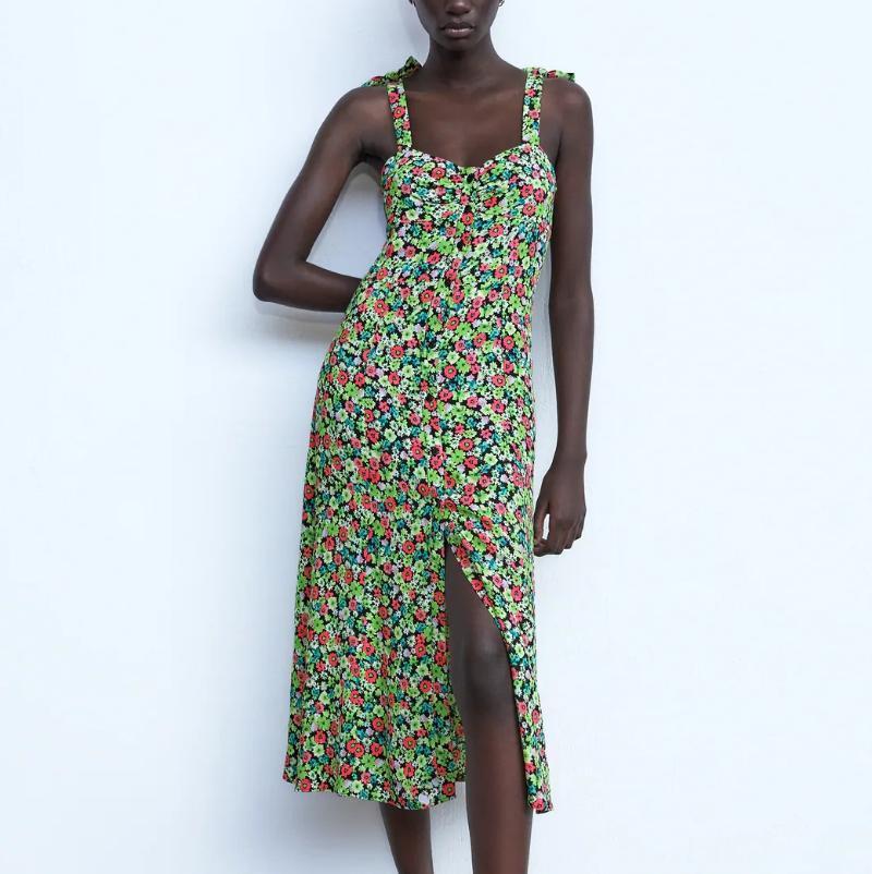 2021 NOUVEAU BEACH VOCATION Style Floral Print Summer Sling Longue Robe Longue Femme Bouton Bouton Sans Manches Coréenne Sely Soi Party
