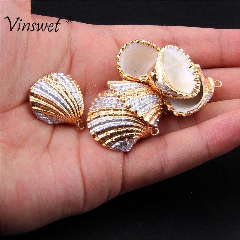 3pcs / lot cor prata ouro Natural Cowrie Shell solta pérolas para fazer jóias encantos DIY Atacado (Tamanho: 23 milímetros * 18 milímetros) aQnB #