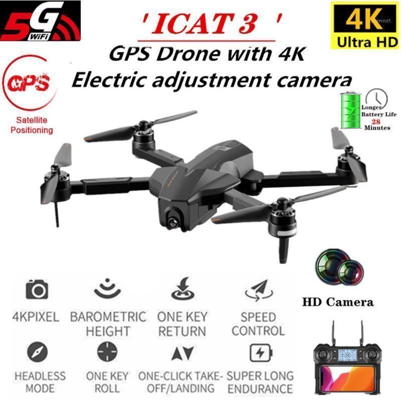 PROFESIONAL ICAT3 GPS sin escobillas DRONE POSICIONAL DE FLUJO ÓPTICO DRONE RC PLEGAR RC Aviones de helicóptero con cámara HD 4K1