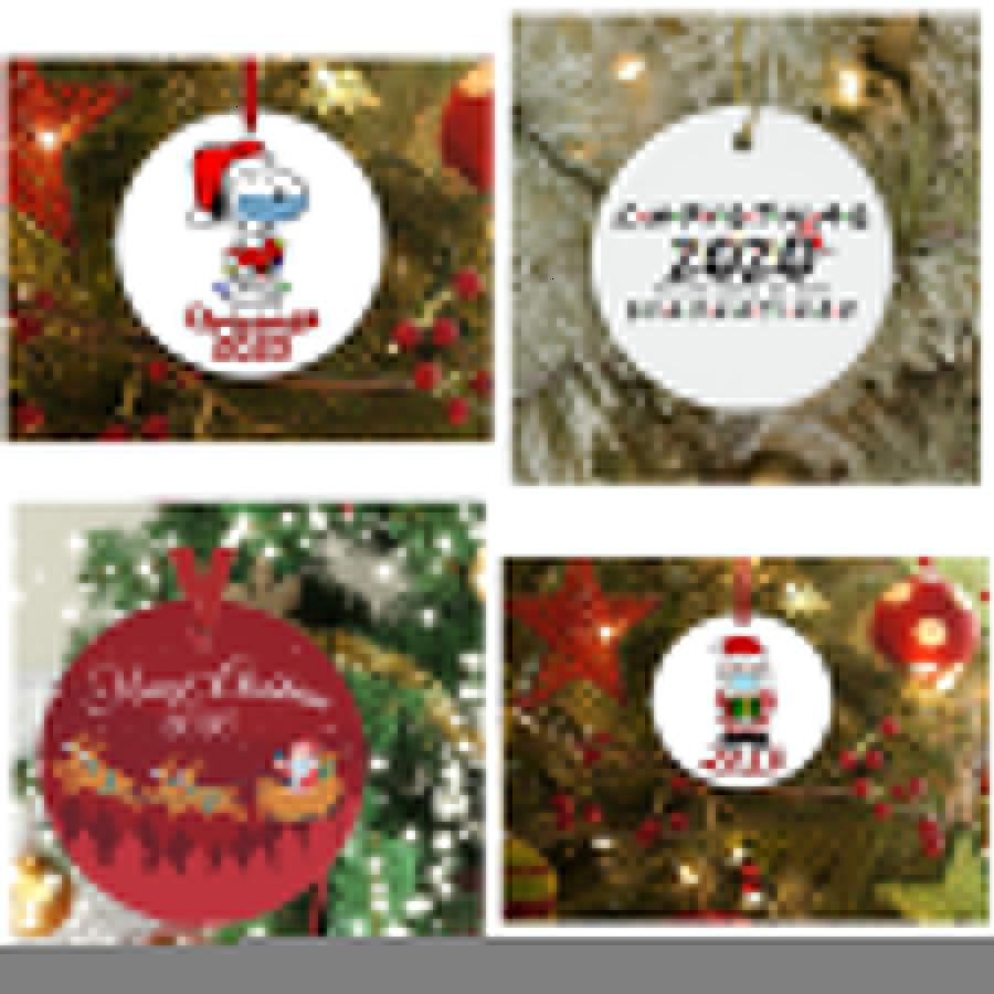 Маска Рождественская елка Кулон Не смотрит снеговика Праздники Подарки ПЭТ Круг Смешные Украшения Мода с бесплатным