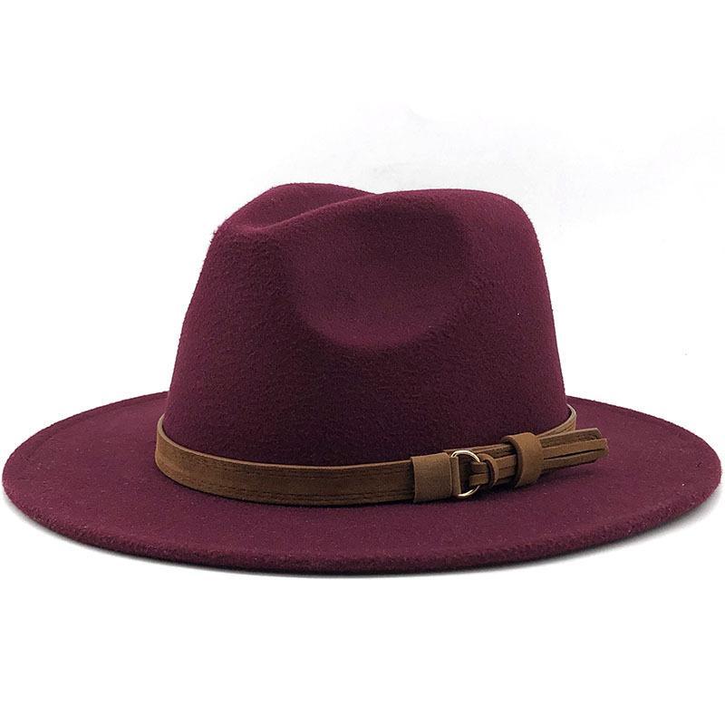 Formal Hat Simplicity Big Brim Jazz Cap Church Sombrero Belt Woman Woollen Fashion Headgear Nordic Style Winter New Arrival 13xg K2