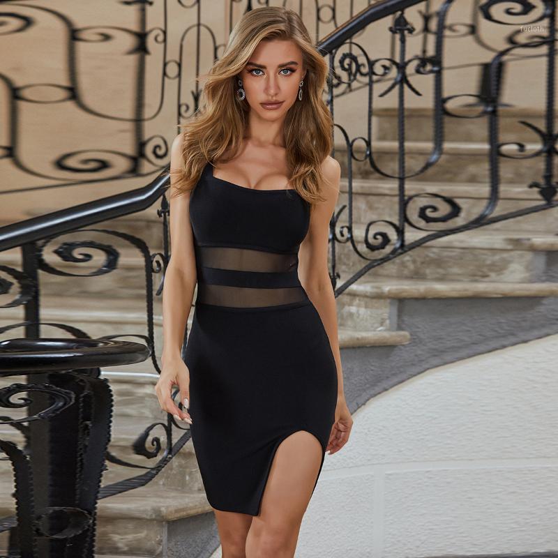 Mujeres de verano de verano sexy o cuello de malla dividida vestido de vendaje negro 2020 diseñador moda vestido de fiesta vestido Vestido1