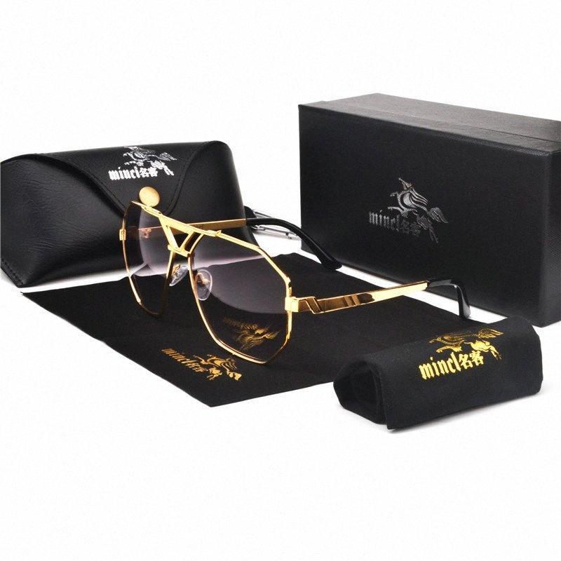MINCL / 2020 Негабаритные Квадратные Солнцезащитные очки Женщины Мода Flat Top Градиент Солнцезащитные очки Мужчины Rimless Большая рамка с коробкой FML OrR4 #