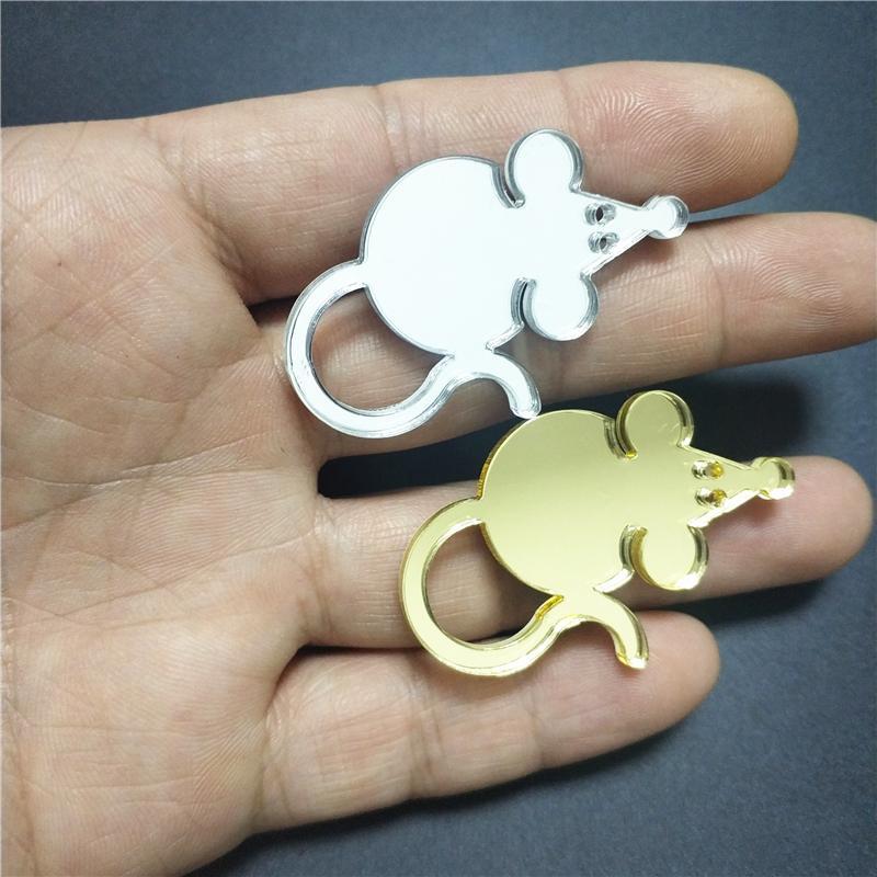 Nueva gordo lindo ratón broches para Mujeres Niñas Niños plata del oro del espejo del color acrílico collar de la joyería Broche Moda