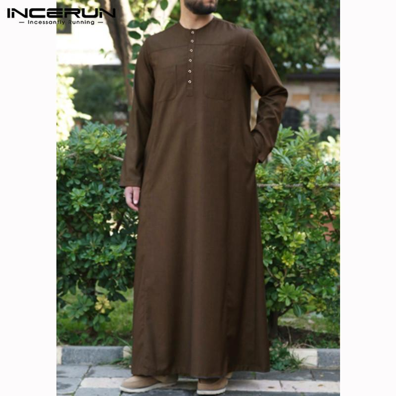 INCERUN Jubba Thobe Homens muçulmana islâmica Kaftan manga comprida cor sólida Pockets Robe Vintage árabe Dubai Homens Thobe Abaya 2020 5XL