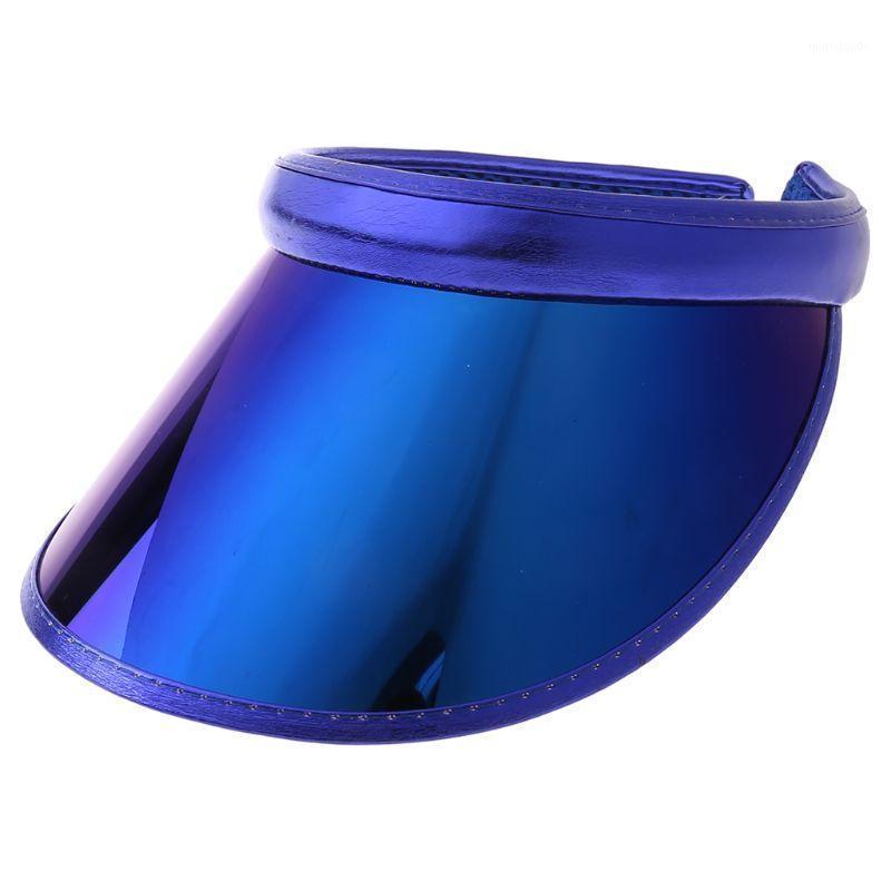 Women Men Hologram Rainbow Wide Brim Sun Visors Hat Topless Sunglasses UV Protection Plastic Panel Sportswear Clip-On Summer Cap1