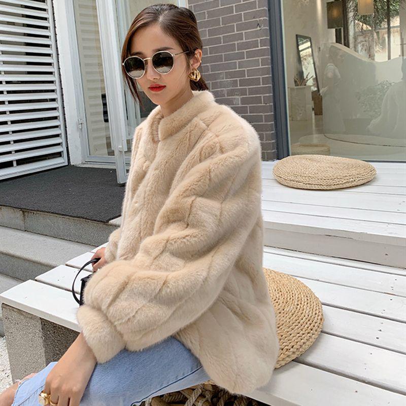 Faux-Pelz-Hauch-Ärmeln für Mädchen mit dickem warmen luxuriösen Nachahmung Nerz-Mantel Kurzer Stil