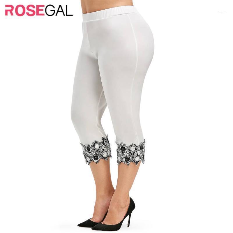 Женские леггинсы Rosegal женщины плюс размер брюки мода женские кружевные брюки готические эластичные прямые капри Наголонги 5XL 20211