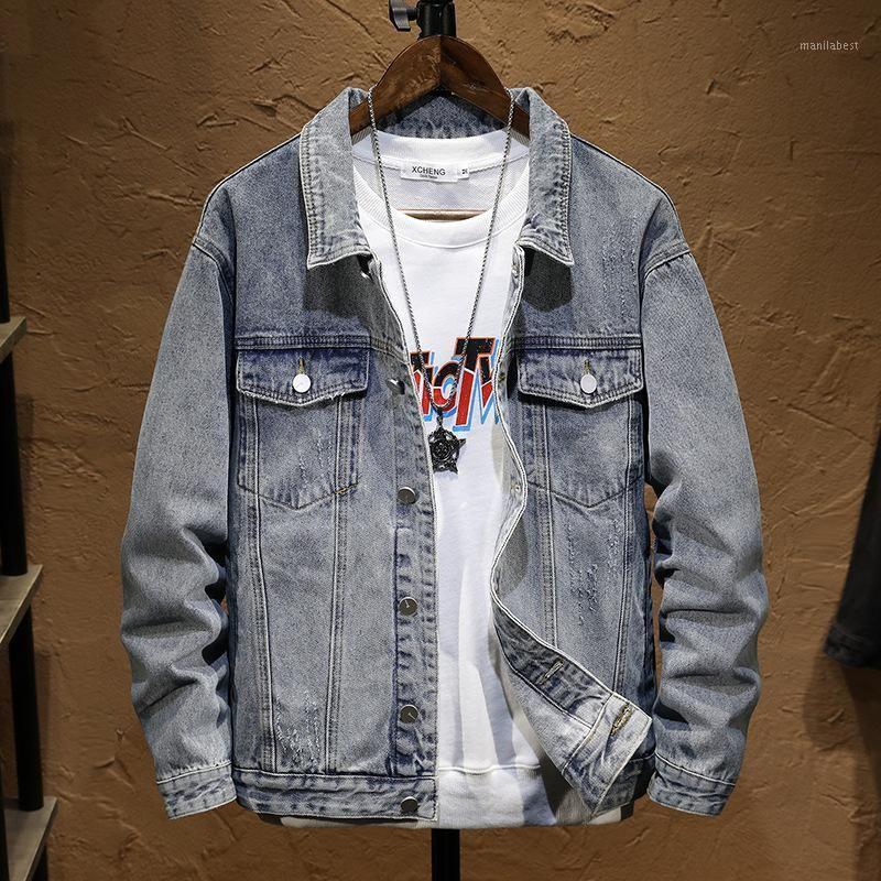 Мужские куртки 2021 мужская джинсовая куртка подростки весна отворота сплошной цветной повседневной куртки1
