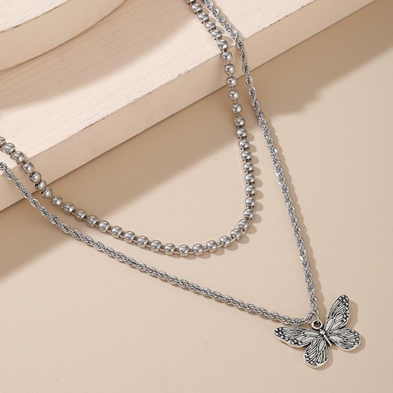 Colliers à la mode Pendentifs Papillon Double Chaîne Collier Collier Argent Pendentif Pendentif Femmes Charm Bijoux Bijoux Cadeau