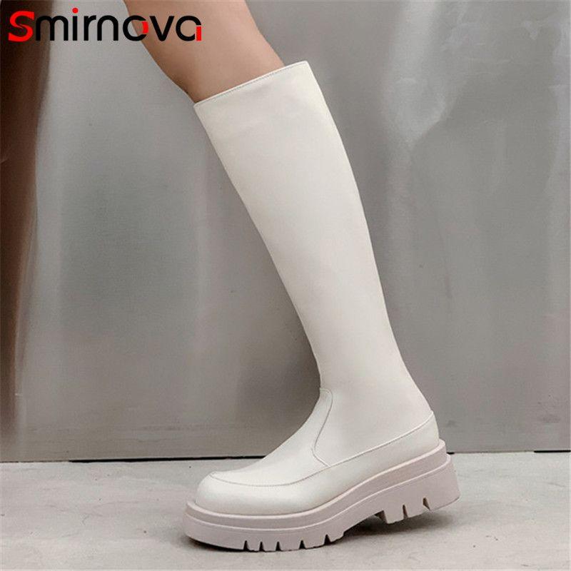Smirnova 2020 heißen Verkauf starken untere Freizeitschuhe Frauen kniehohe Stiefel einfaches Reißverschluss bequem Herbst Winterstiefel Frau