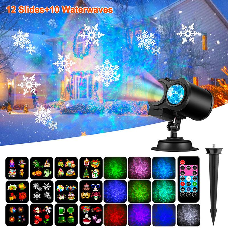 12 Patterns LED Disco Light Christmas Projector Lights Outdoor Party Lights Garden Landscape Lamp Holiday Decorations For Home