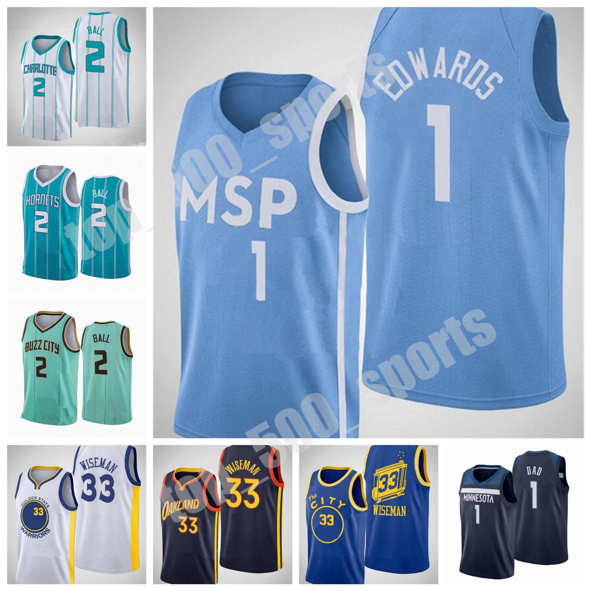 2020 2021 2021 مشروع اختيار 1 أنتوني إدواردز جيرسي 33 جيمس ويزمان 2 لاميلو الكرة كرة السلة الرجال النساء الاطفال الشباب الأزرق الأبيض الأرجواني حجم S-XXXL
