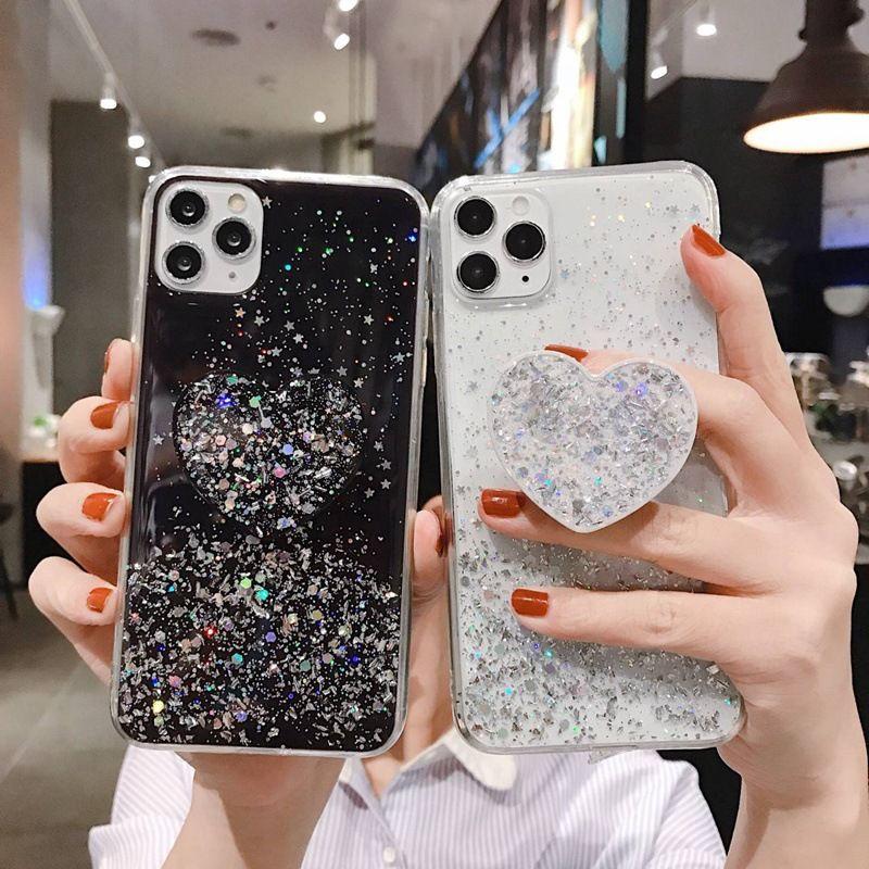 아이폰 뉴스 아이폰 SE 2020 블링 투명 전화의 경우 11 프로 MAX XR XS MAX X 8 7 6 6S 플러스 케이스 홀더 Coque 아이폰 (7)