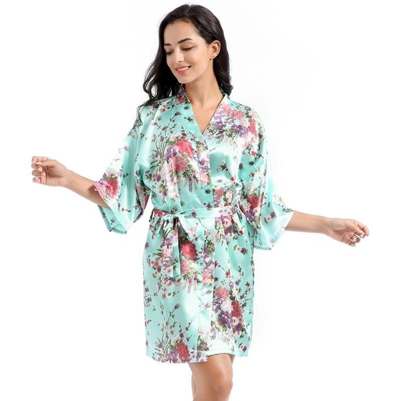 زهرة طباعة قصيرة ليلة رداء الحرير النساء التعادل الخصر تقليد سوف القمص ملابس خاصة الملابس ثوب النوم الحمام رداء والرملية جديدة