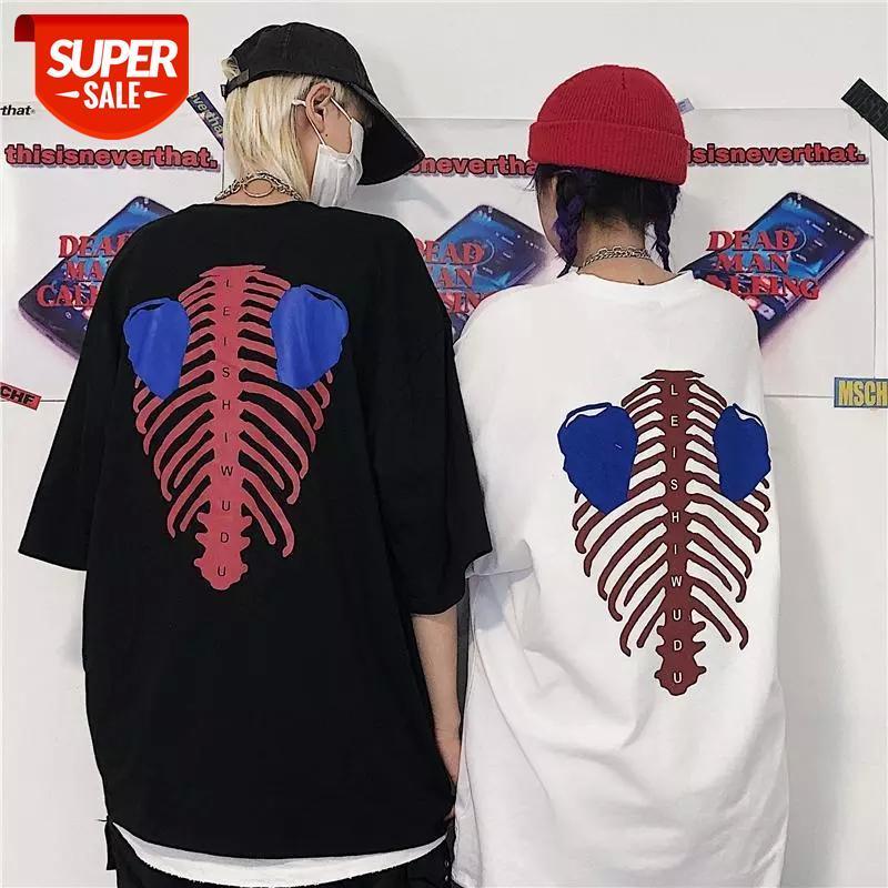 Yeni Yaz Kore İskelet Baskı Gevşek Kısa Kollu T-shirt Erkekler Ve Kadınlar Severler Gömlek Çift Tshirt O-Boyun Tees Erkek # MF4D
