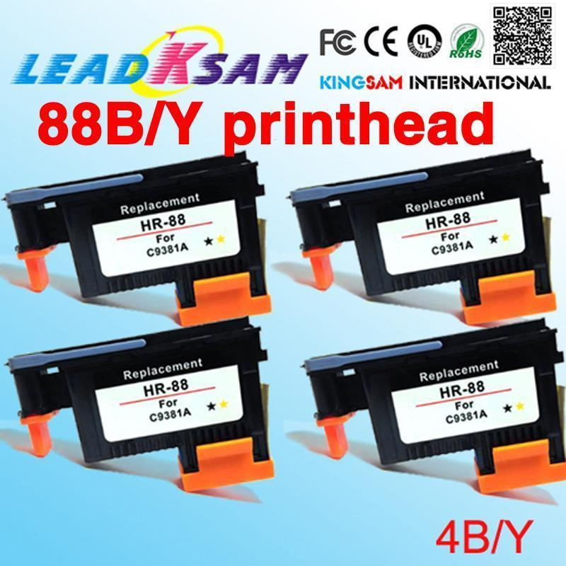 4x Tête d'impression jaune noire Compatible pour 88 C9381A pour 88 L7580 / L7588 / L7600 / L7650 / L7680 / L7681 / L7700 / L7710 / L7750 / L77801